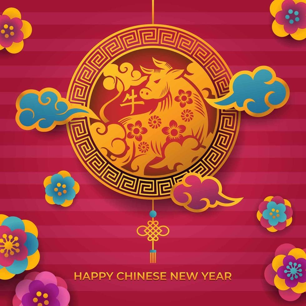 kinesiskt nyår gyllene ox symbol design vektor