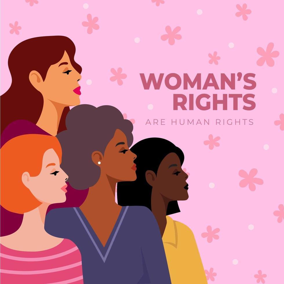 vier Frauen unterschiedlicher Nationalität vektor
