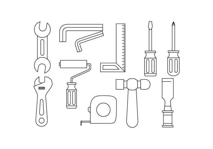 Kostenlose Tools Hardware Line Icon Vector