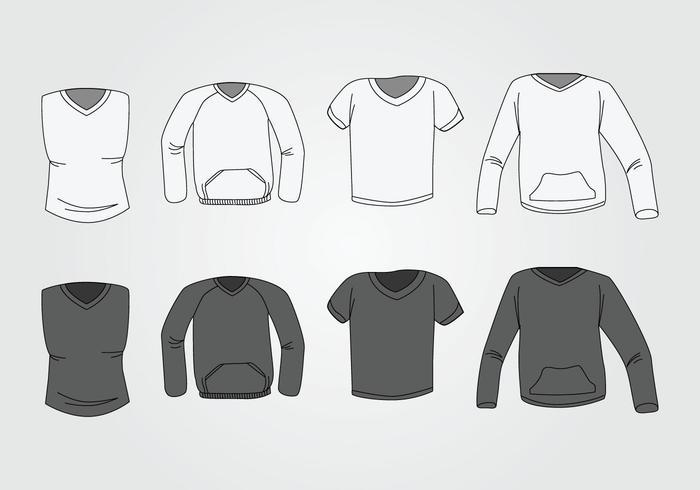 Mäns V-halsskjorta mall vektor