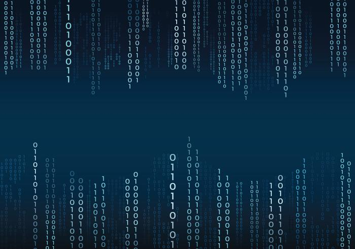 Blue Binary Text In Matrix Stil Hintergrund vektor