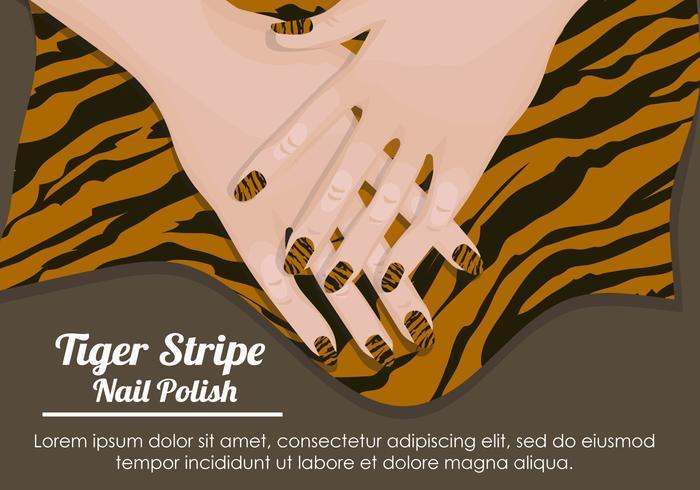 Tiger Streifen Nagellack Muster vektor