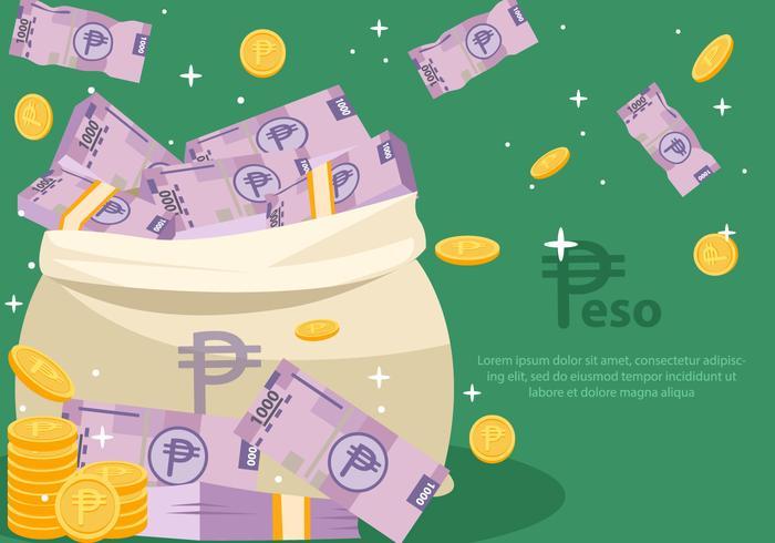 Peso mexikanska pengar vektor
