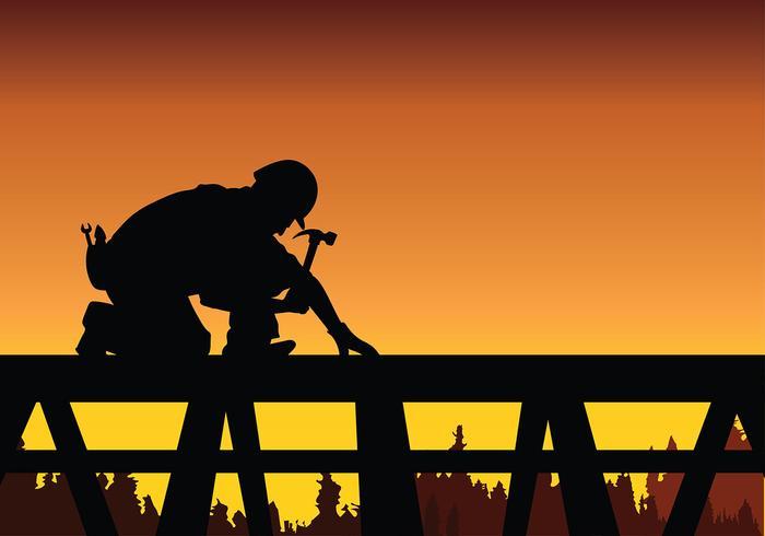 Tradesman Arbeit auf Roof Free Vector