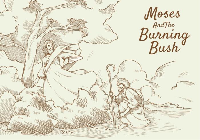 Moses och Burning Bush Vector Illustration