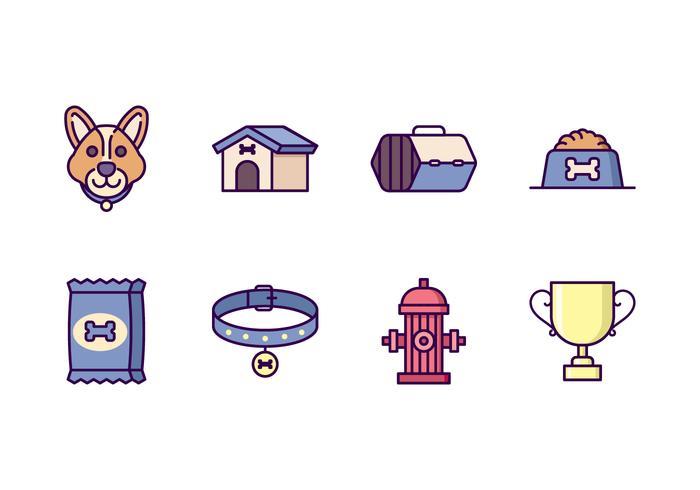 Hund Ausrüstung Icons vektor