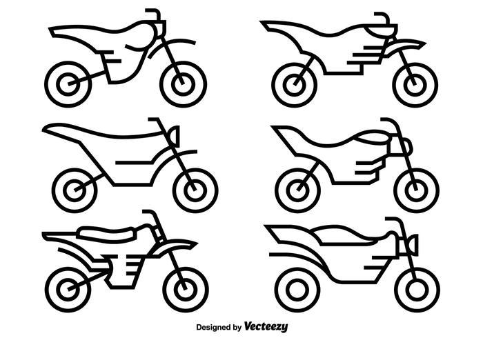 Vektor Ikoner Motocross Motorcyklar