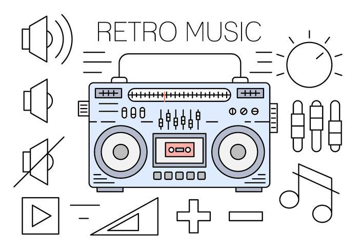 Lineare Retro Musik Icons vektor