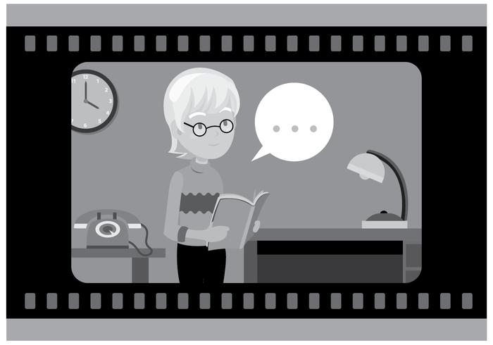 Gratis Silent Film Skådespelerska Vector