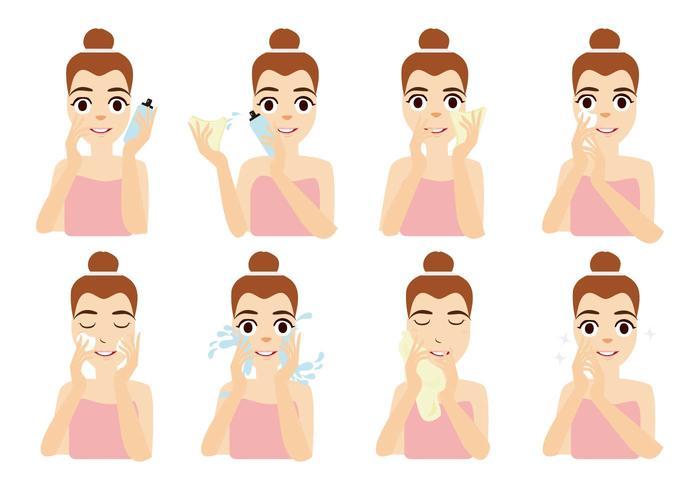 Free Young Women Anwenden Gesichtsmaske Vektor