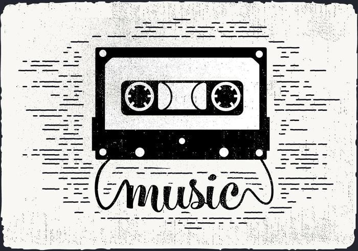Gratis Vintage Audio Cassette Vector Illustration