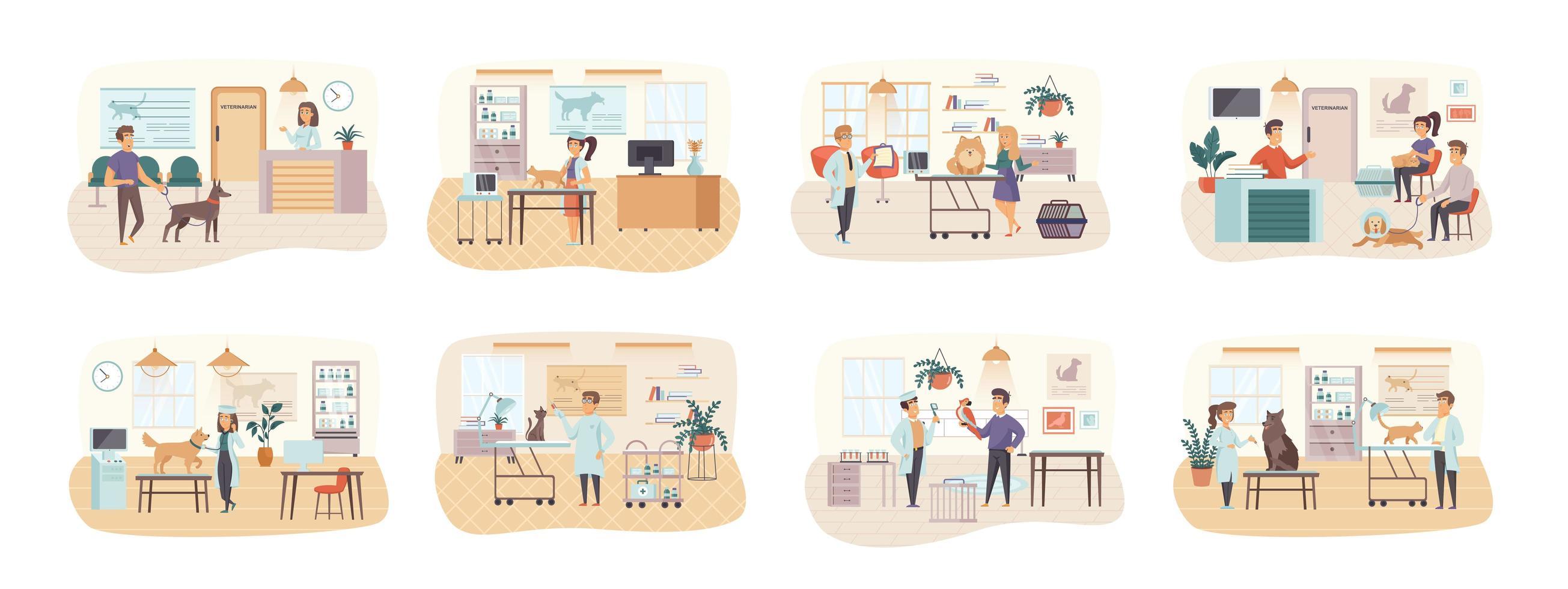 veterinärklinik bunt scener med platta karaktärer vektor