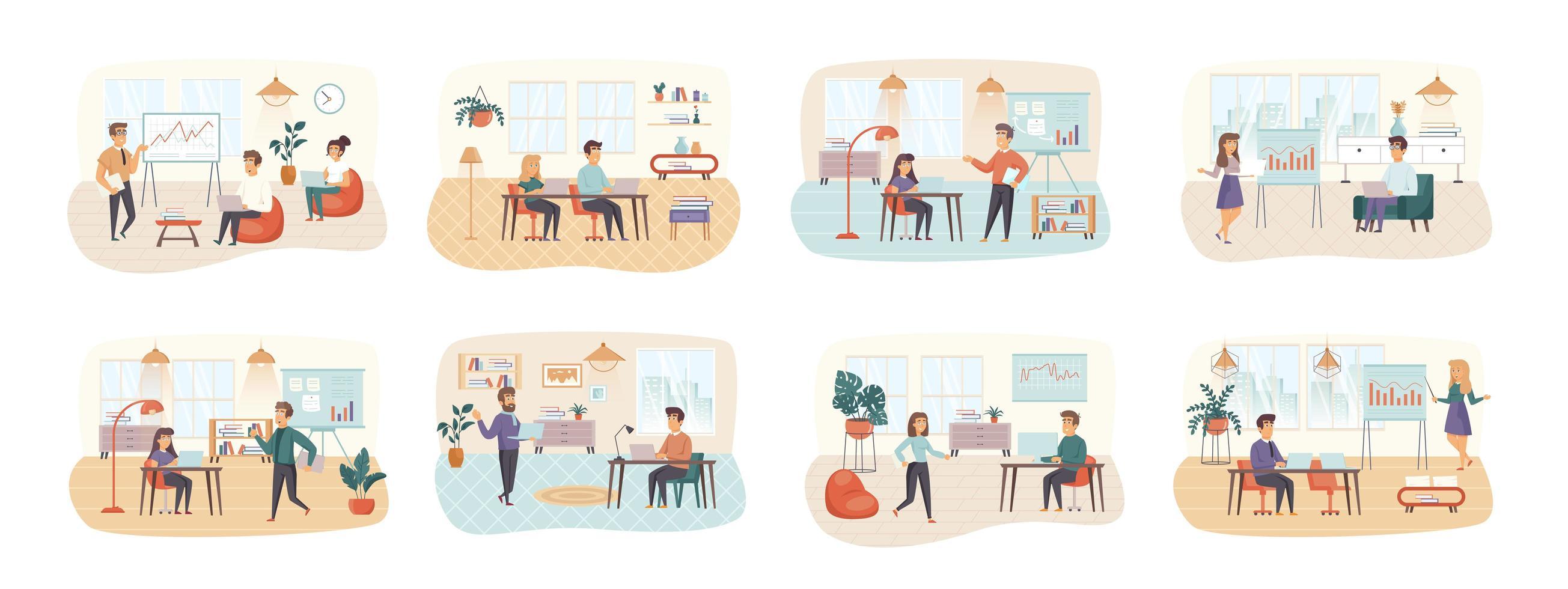 Office Manager-Bündel von Szenen mit Personencharakteren vektor