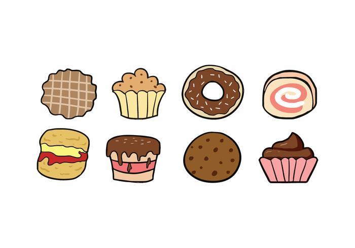 Kakor och tårta ikoner vektor