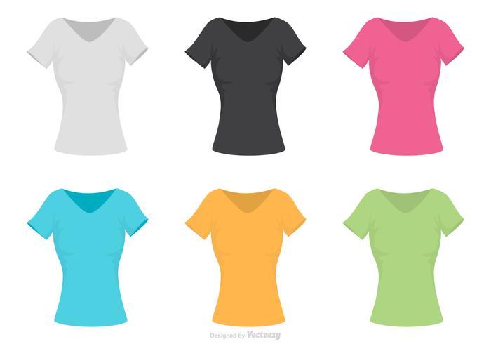 Kvinna V-halsskjorta Mall Vector