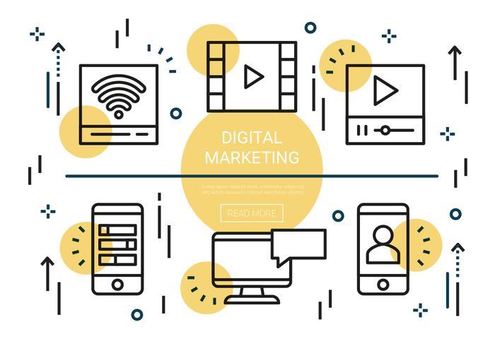 Gratis platta linjära digitala marknadsföringsvektorelement vektor