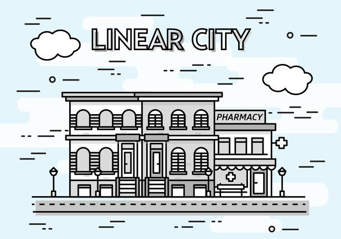 Gratis linjär stad vektor bakgrund