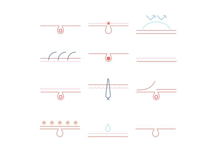 Set von umrissenen Dermatologie Icons vektor