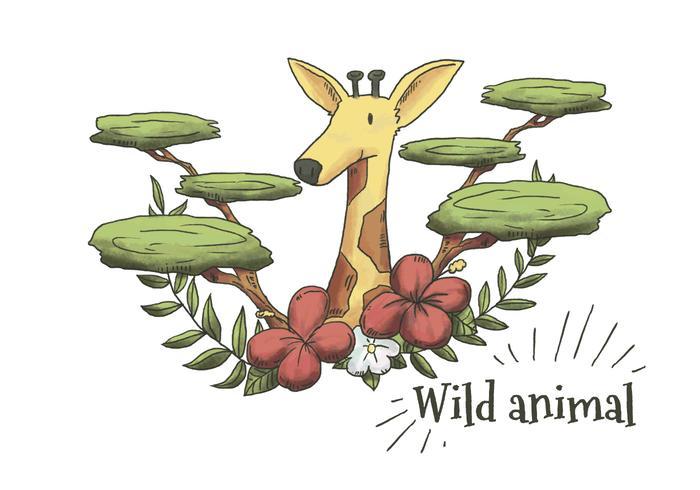 Nette Aquarell-Giraffe mit Blättern, Pflanzen und Blumen vektor