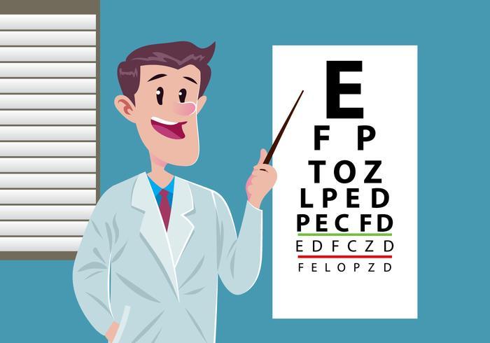Augen-Test mit jungen Doktor vektor