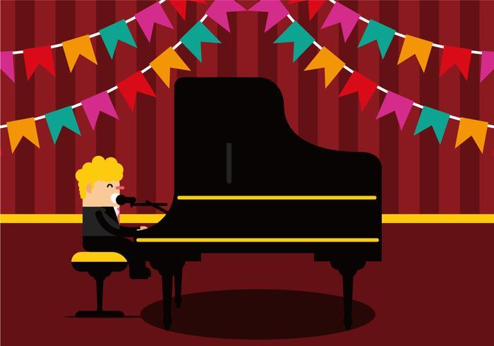 Man sjunger och spelar pianovektor vektor