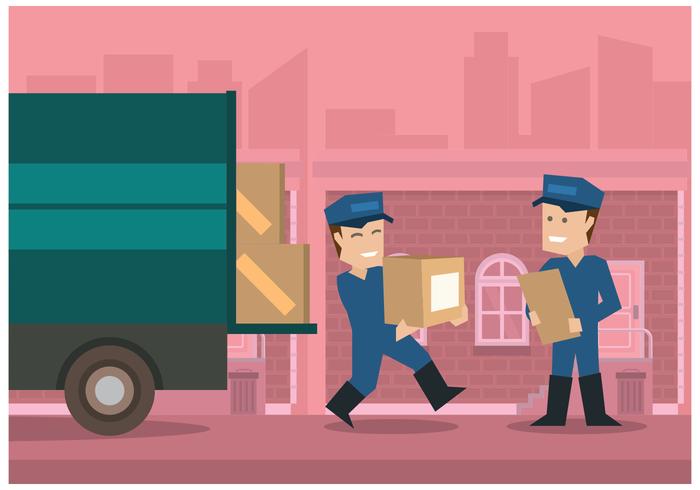 Movers med Rosa City Bakgrund Illustration Vektor