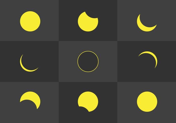 Flat Solar Eclipse Phasen Vektoren