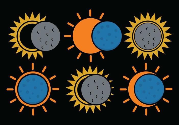 Sonnenfinsternis-Vektor-Set vektor