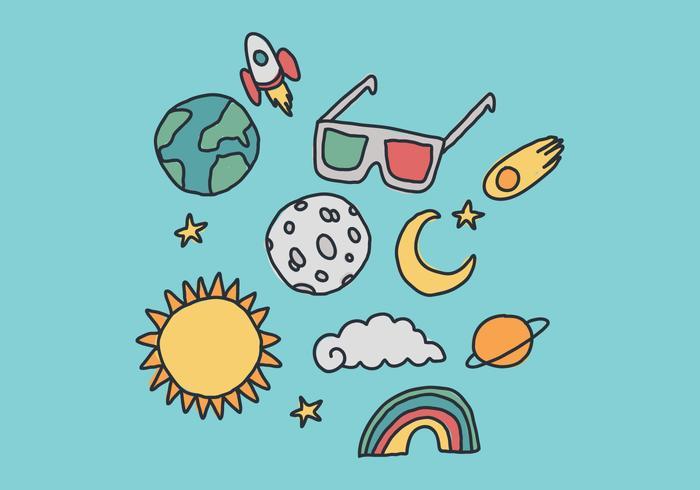 Outer Space und Eclipse Element Vektoren