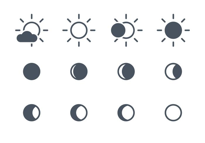 Solar- und Mond-Ikonen vektor