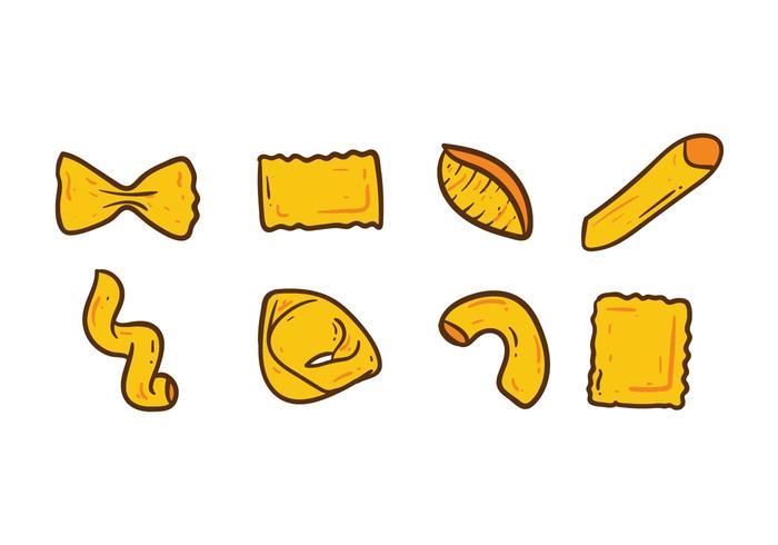 Pasta Verschiedene Doodle Icons vektor