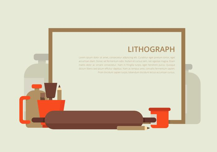 Litografi verktyg ram och bakgrund vektor