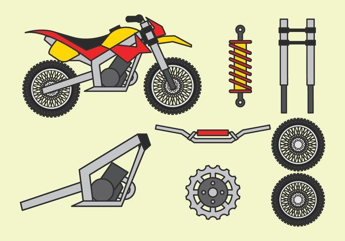Motocross delar uppsättning vektor