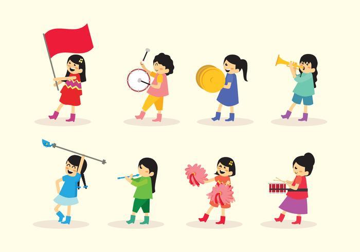 Mädchen Marschieren Band Vektor