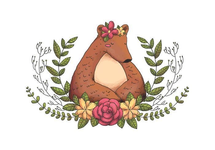 Netter Tierwaldbär Mit Blumenkrone, Blätter Und Blumen vektor