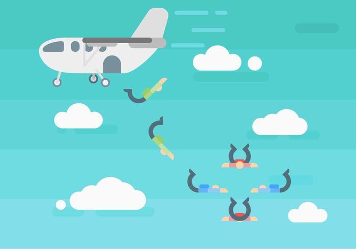 Free Hervorragende Fallschirmspringen vektor