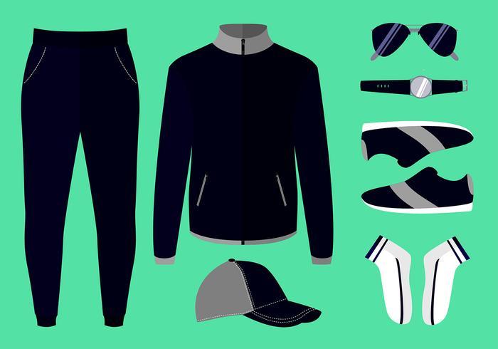 Windbreaker och Winter Clothes Set Free Vector