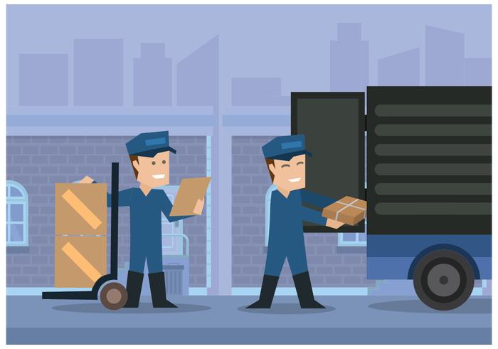 Movers Sätta Lådor In Truck Illustration Vektor