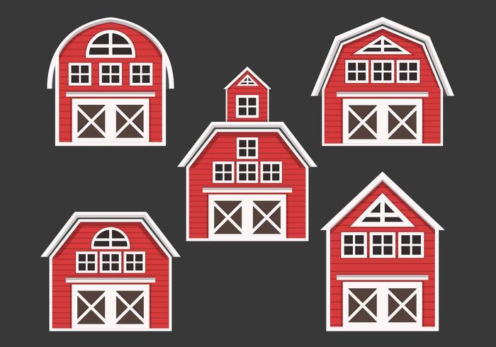 Röd ladugård vektor samling