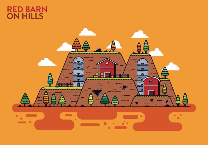 Kostenlose Rote Scheune auf den Hügeln Vektor