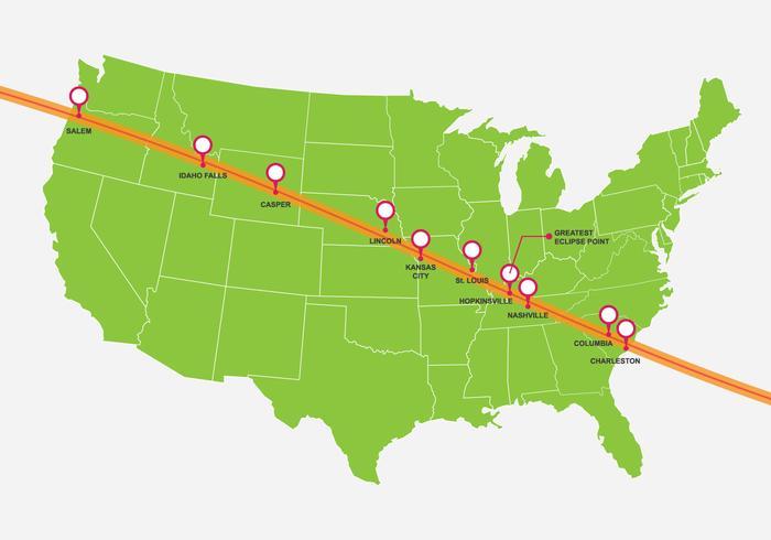 Vereinigte Staaten Solar Eclipse Karte vektor
