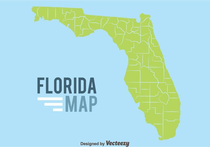 Florida Karta På Blå Bakgrund vektor