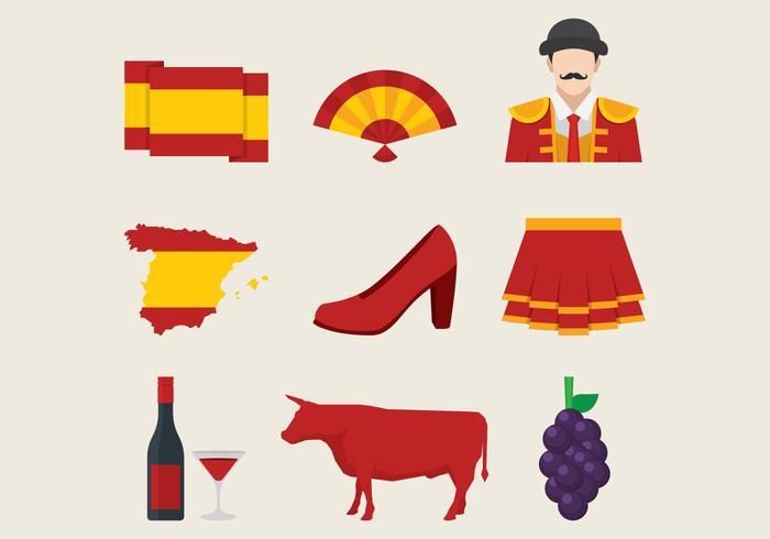 Spanska Traditionella Symboler Set vektor