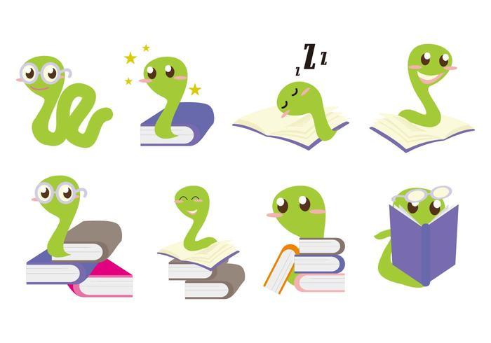 Gratis Bookworm Character Vector