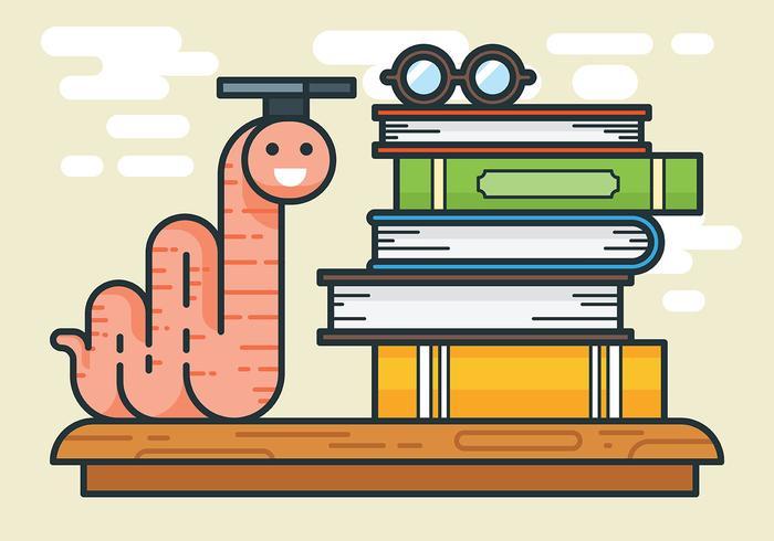 Bücherwurm Vektor-Illustration vektor