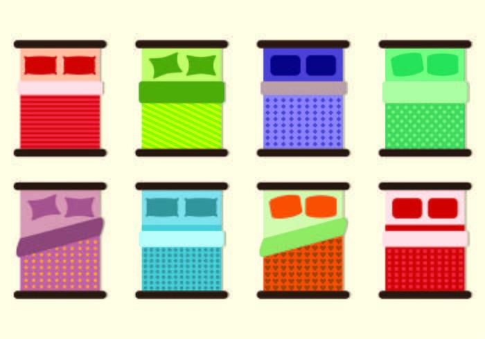 Set von Bettwäsche Icons vektor