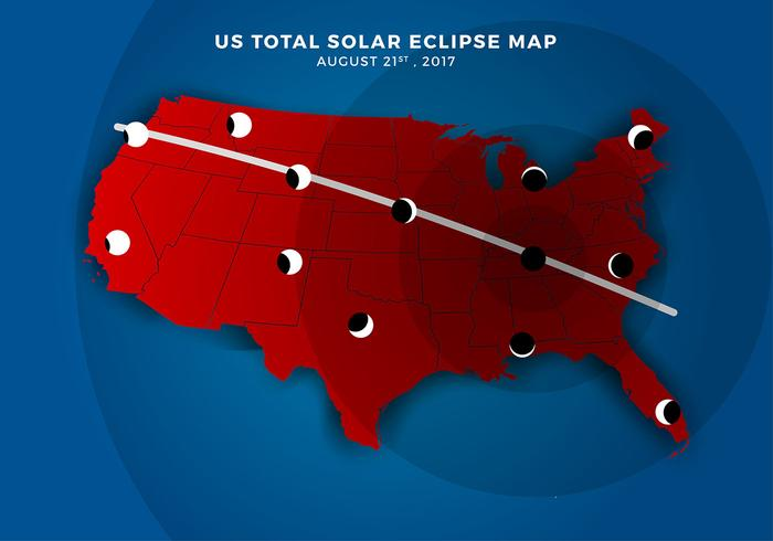 US Total Solar Eclipse Path Karta Gratis Vector