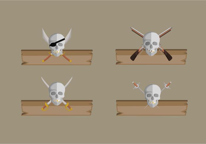 Piratenfahne mit Holzbrett-Vektor-Sammlung vektor