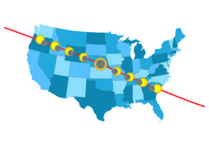 Info der Vereinigten Staaten Solar Eclipse Path Map vektor