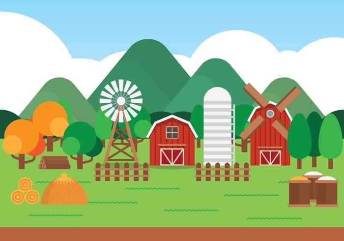 Gårdens tecknade landskap vektor